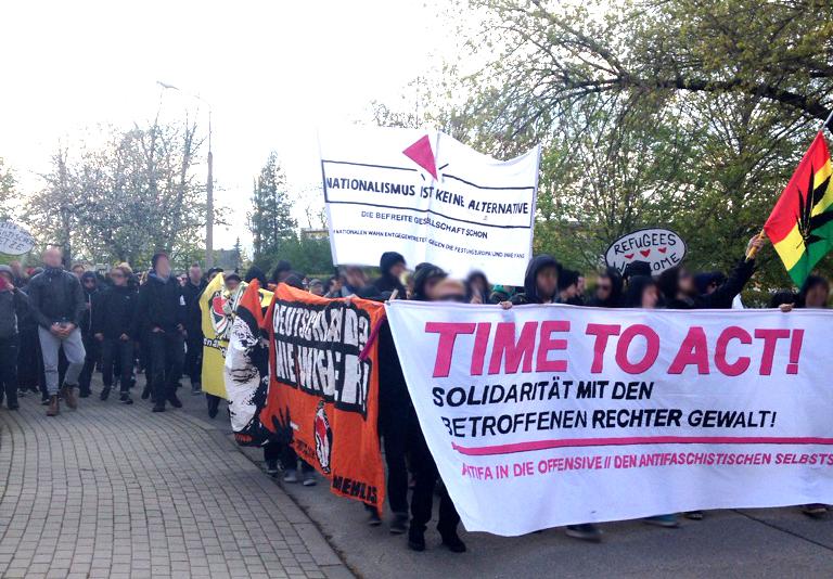 Antifa Demo Saalfeld Gorndorf 29.04.2016
